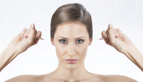 Botox, self injection Royalty Free Stock Images