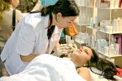 Botox strzał w żeńskiej twarzy Obraz Stock
