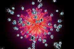 Bots nanos que atacan un virus ilustración del vector
