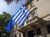 Botschaft von Griechenland-Flaggen Stockfotos
