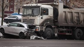 Botsing van de vrachtwagen
