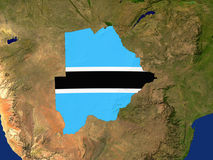 Botswana. Highlighted Satellite Image Of Botswana With The Countries Flag Covering It Royalty Free Stock Photos