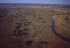 Botswana: Airshot of the Okavango-Delta swamps. Botswana: Airshot from the Okavango-Delta swamps in the middle of the Kalahari desert Stock Photos