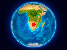 Botswana on Earth. Botswana in red from Earth's orbit. 3D illustration. Elements of this image furnished by NASA Stock Photos