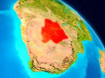 Botswana on Earth. Space view of Botswana highlighted in red on planet Earth. 3D illustration. Elements of this image furnished by NASA Stock Image