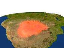 Botswana en rojo de la órbita stock de ilustración