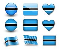 The Botswana flag. Set of icons and flags. glossy and matte on a white background Royalty Free Stock Image