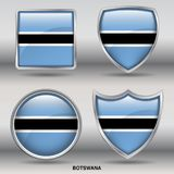 Botswana Flag in 4 shapes collection with clipping path stock photos