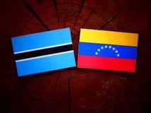 Botswana. Flag with Venezuelan flag on a tree stump isolated Stock Images