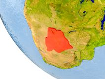 Botswana on globe. Map of Botswana in red on globe with real planet surface, embossed countries with visible country borders and water in the oceans. 3D Royalty Free Stock Images