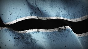 Botswana grunge dirty flag waving on wind. Botswana background fullscreen grease flag blowing on wind. Realistic filth fabric texture on windy day Royalty Free Stock Photography