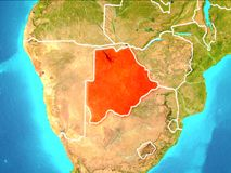 Map of Botswana. Botswana highlighted in red from Earth's orbit. 3D illustration. Elements of this image furnished by NASA Stock Image