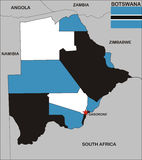 Botswana map Stock Photography