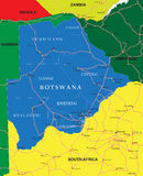 Botswana map. Highly detailed vector map of Botswana  with administrative regions, main cities and roads Stock Image