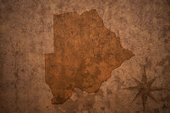 Botswana map on a old vintage paper background. Botswana map on a old vintage crack paper background Royalty Free Stock Photography