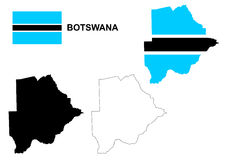 Botswana map vector, Botswana flag vector, isolated Botswana Royalty Free Stock Images