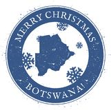 Botswana map. Vintage Merry Christmas Botswana. Botswana map. Vintage Merry Christmas Botswana Stamp. Stylised rubber stamp with county map and Merry Christmas Stock Photos
