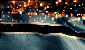 Botswana National Flag Light Night Bokeh Abstract Background Stock Photos