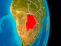 Botswana on Earth. Botswana in red on planet Earth with visible borderlines. 3D illustration. Elements of this image furnished by NASA Stock Photo