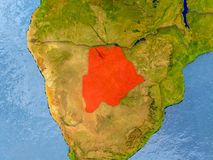 Map of Botswana. Botswana in red on realistic map with embossed countries. 3D illustration. Elements of this image furnished by NASA Royalty Free Stock Photography