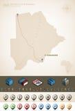 Botswana. Republic of Botswana and Africa maps, plus extra set of isometric icons & cartography symbols set (part of the World Maps Set Royalty Free Stock Photo