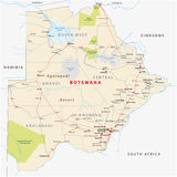 Botswana road, administrative and political map Royalty Free Stock Photos