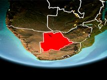 Botswana in rood in de avond Stock Afbeeldingen
