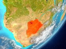 Botswana from space. Satellite view of Botswana highlighted in red on planet Earth with clouds. 3D illustration. Elements of this image furnished by NASA Stock Photo