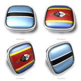 Botswana and Swaziland 3d metallic square flag button Royalty Free Stock Photos