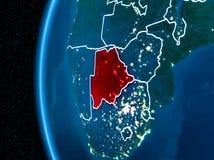 Botswana ter wereld bij nacht Stock Foto