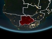 Botswana ter wereld van ruimte bij nacht Stock Fotografie