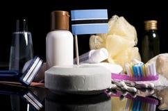 Botswanan-Flagge in der Seife mit allen Produkten für die Leute Stockbild
