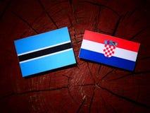 Botswansk flagga med den kroatiska flaggan på en trädstubbe Fotografering för Bildbyråer