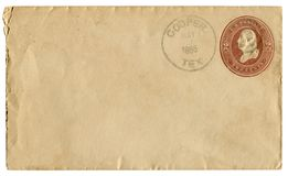 Bottaio, il Texas, U.S.A. - 7 maggio 1886: Busta storica degli Stati Uniti: copertura con il bollo impresso impresso marrone, due fotografie stock