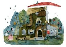 Botte de maison de bande dessinée dans l'hôtesse de souris de forêt illustration de vecteur