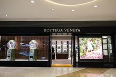 Bottega Veneta fashion boutique display window. Hong Kong royalty free stock images