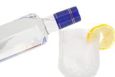 Bottel e vidro da vodca. foto de stock royalty free