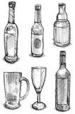 Bottel och exponeringsglasuppsättning Arkivfoto