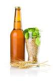 Bottelaar, Glas gerst en hop, de oren van de Tarwe stock afbeeldingen
