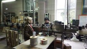 Bottelende en verzegelende transportbandlijn bij wijnmakerijfabriek stock videobeelden