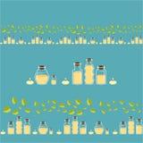 Bottels av arom oljer för brunnsort- och massageförlage royaltyfri illustrationer