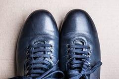 Bottes bleues au sol Photo libre de droits