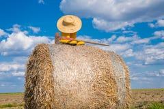 Bottes, chapeau et houe Photo stock