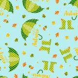 Bottes de pluie de Wellington d'automne de ressort et parapluie, modèle de feuilles d'automne illustration de vecteur