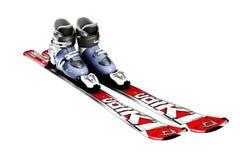 Bottes de ski avec des skis d'isolement sur un fond blanc Images stock