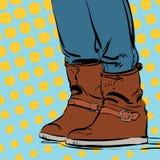 Bottes du ` s de femme Chaussures d'hiver du ` s de femme Photos libres de droits