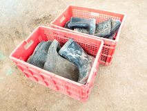Bottes en caoutchouc noires utilisées Images libres de droits