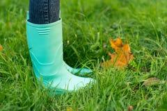 Bottes en caoutchouc sur une herbe Photo stock
