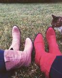 Bottes et chaussettes, le minou Photographie stock libre de droits