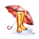 Bottes et parapluie de pluie Photos libres de droits